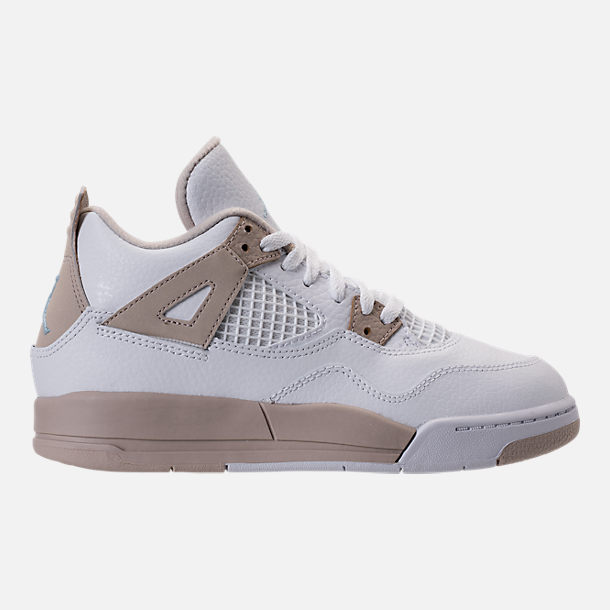 Right view of Kids' Preschool Jordan Retro 4 Basketball Shoes in White/Boarder Blue/Sand