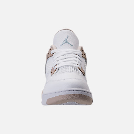 Front view of Kids' Preschool Jordan Retro 4 Basketball Shoes in White/Boarder Blue/Sand