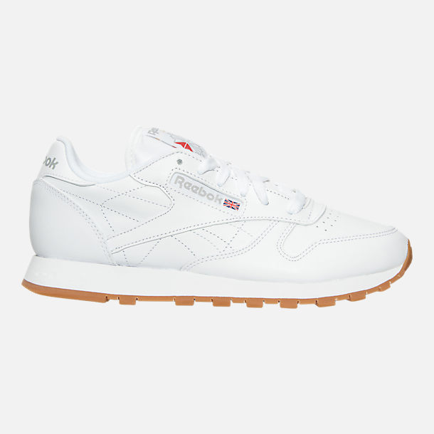 Right view of Women's Reebok Classic Leather Gum Casual Shoes in White/Gum
