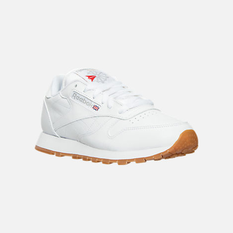 Three Quarter view of Women's Reebok Classic Leather Casual Shoes in White/Gum