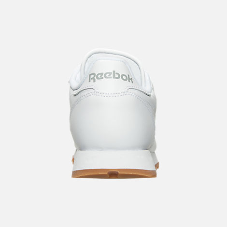 Back view of Women's Reebok Classic Leather Gum Casual Shoes in White/Gum