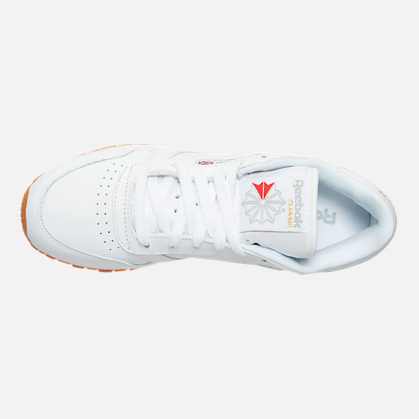 Top view of Women's Reebok Classic Leather Gum Casual Shoes in White/Gum