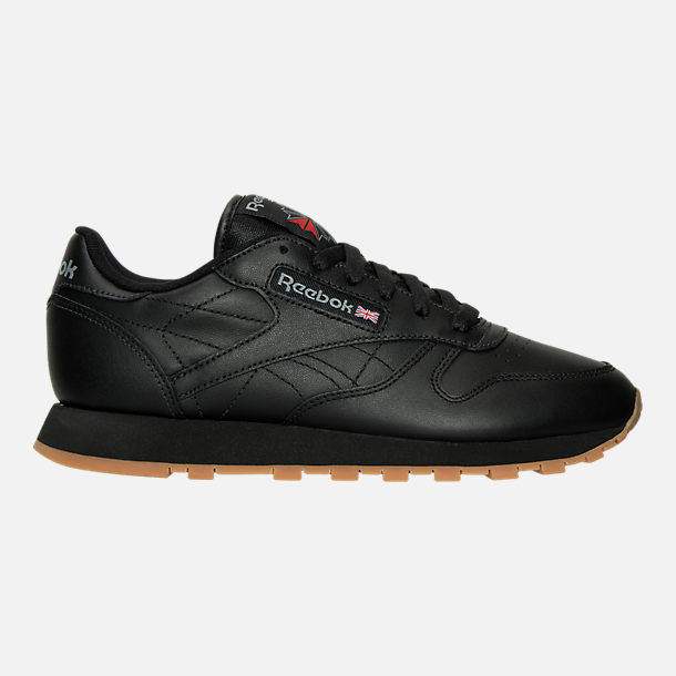 Right view of Women's Reebok Classic Leather Casual Shoes in Black/Black