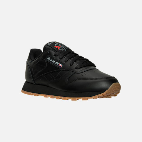 Three Quarter view of Women's Reebok Classic Leather Casual Shoes in Black/Black