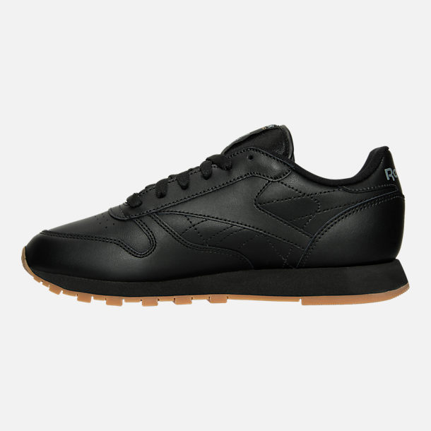 Left view of Women's Reebok Classic Leather Casual Shoes in Black/Black
