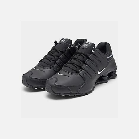 hot sales 484b4 59319 Three Quarter view of Men s Nike Shox NZ EU Running Shoes in Black White