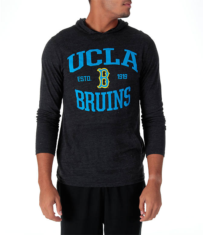 Front view of Men's Under Armour UCLA Bruins College TriBlend Hooded T-Shirt in Charcoal Grey