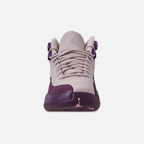 Front view of Girls' Big Kids' Air Jordan Retro 12 Basketball Shoes in Desert Sand/Desert Sand/Pro Purple