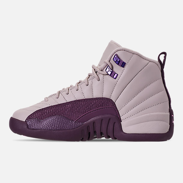 Left view of Girls' Big Kids' Air Jordan Retro 12 Basketball Shoes in Desert Sand/Desert Sand/Pro Purple