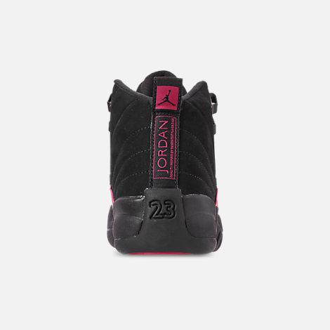 01c0ffa4a3f Back view of Girls' Big Kids' Air Jordan Retro 12 Basketball Shoes in Black