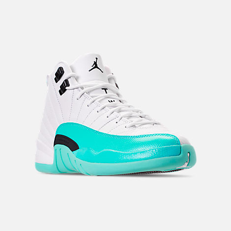 Three Quarter view of Girls' Big Kids' Air Jordan Retro 12 Basketball Shoes in White/Black/Light Aqua