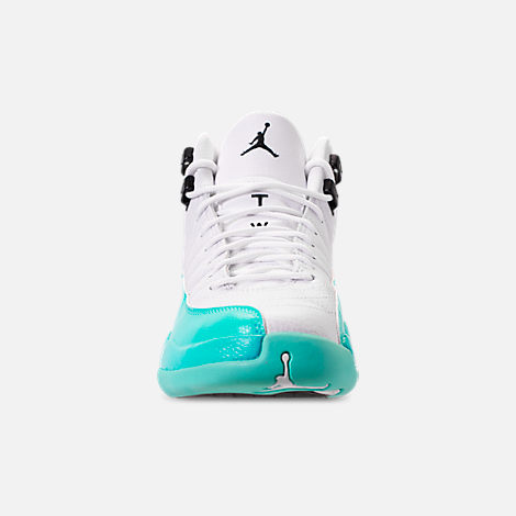 Front view of Girls' Big Kids' Air Jordan Retro 12 Basketball Shoes in White/Black/Light Aqua
