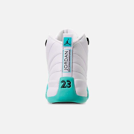 Back view of Girls' Big Kids' Air Jordan Retro 12 Basketball Shoes in White/Black/Light Aqua