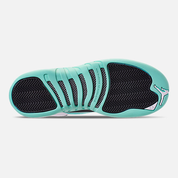 Bottom view of Girls' Big Kids' Air Jordan Retro 12 Basketball Shoes in White/Black/Light Aqua