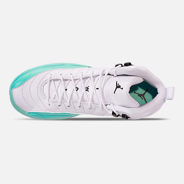 Top view of Girls' Big Kids' Air Jordan Retro 12 Basketball Shoes in White/Black/Light Aqua
