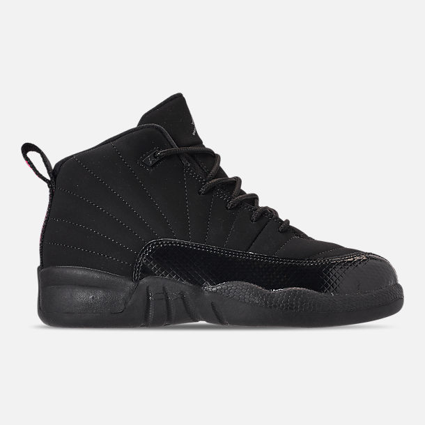Right view of Girls  Little Kids  Air Jordan Retro 12 Basketball Shoes in  Black 10758660ff7c