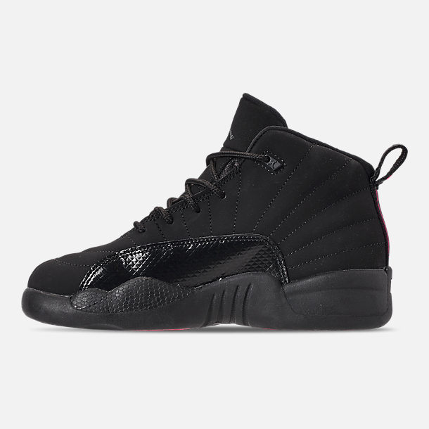 Left view of Girls' Little Kids' Air Jordan Retro 12 Basketball Shoes in Black/Dark Grey/Rush Pink