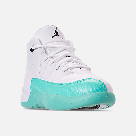 Three Quarter view of Girls' Little Kids' Air Jordan Retro 12 Basketball Shoes in White/Black/Light Aqua