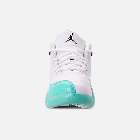 Front view of Girls' Little Kids' Air Jordan Retro 12 Basketball Shoes in White/Black/Light Aqua