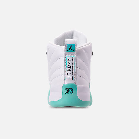 Back view of Girls' Little Kids' Air Jordan Retro 12 Basketball Shoes in White/Black/Light Aqua