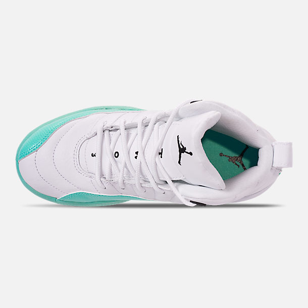 Top view of Girls' Little Kids' Air Jordan Retro 12 Basketball Shoes in White/Black/Light Aqua
