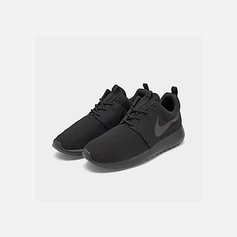 Three Quarter view of Men's Nike Roshe One Casual Shoes in Black/Black