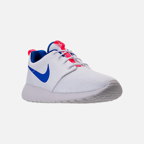 Three Quarter view of Men's Nike Roshe One Casual Shoes in White/Ultra  Marine/