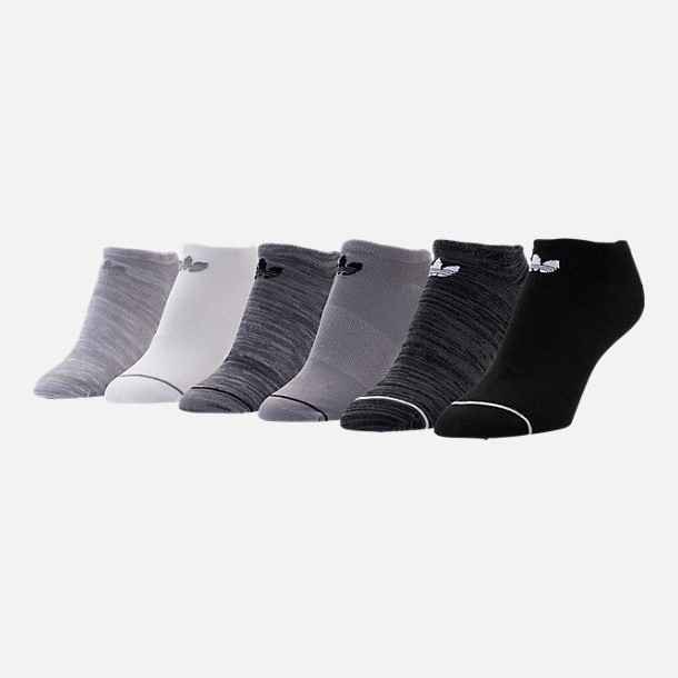 Front view of Women's adidas Originals 6-Pack No-Show Socks in Black/White/Grey