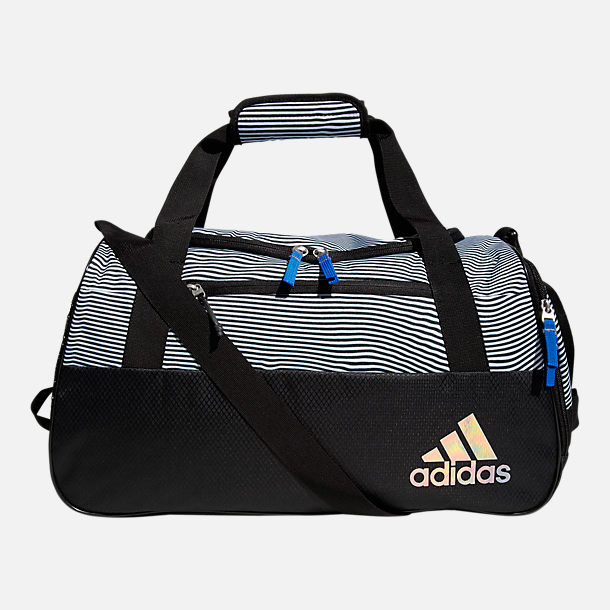 Front view of adidas Squad III Duffel Bag in Black Optic Stripe