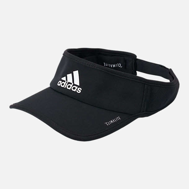 Front view of adidas Superlite Performance Visor in Black/White