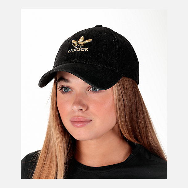 Alternate view of Women's adidas Originals Relaxed Plus Denim Strapback Hat in Black Denim/Gold