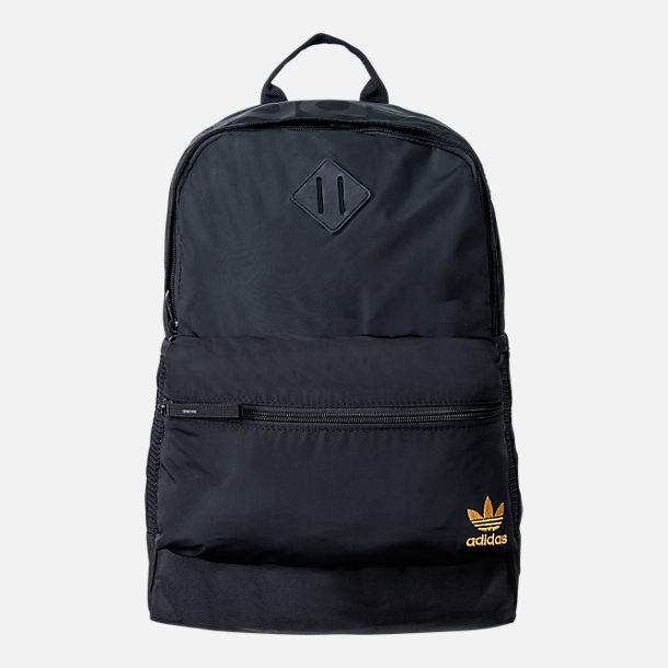 Front view of Women's adidas Originals National Backpack in Black/Gold