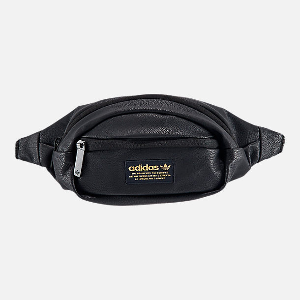 Front view of adidas Originals National Waist Pack in Black PU Leather/Gold