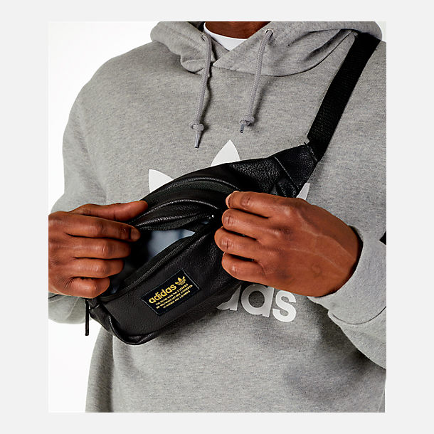 Alternate view of adidas Originals National Waist Pack in Black PU Leather/Gold