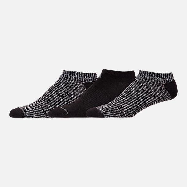 Back view of Men's adidas Badge of Sport 3-Pack No-Show Socks in Black