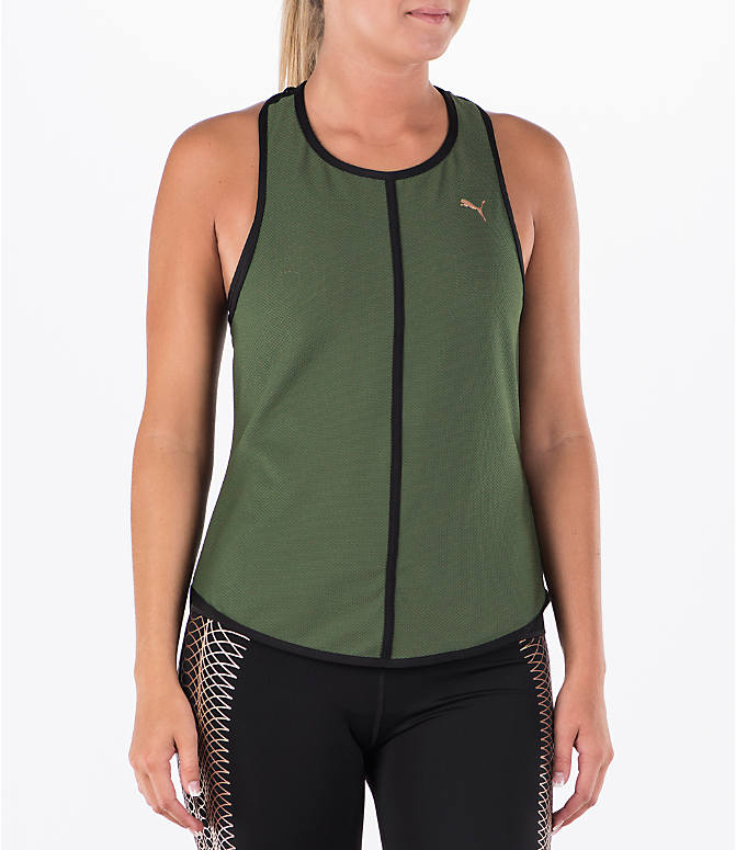 Front view of Women's Puma Mesh Tank in Green/Black