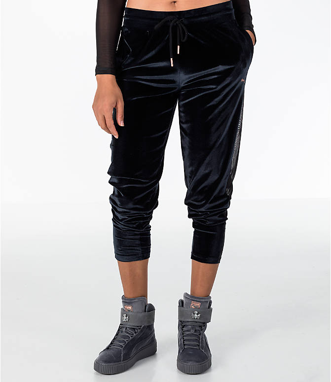 Front view of Women's Puma Yogini Velvet Pants in Black