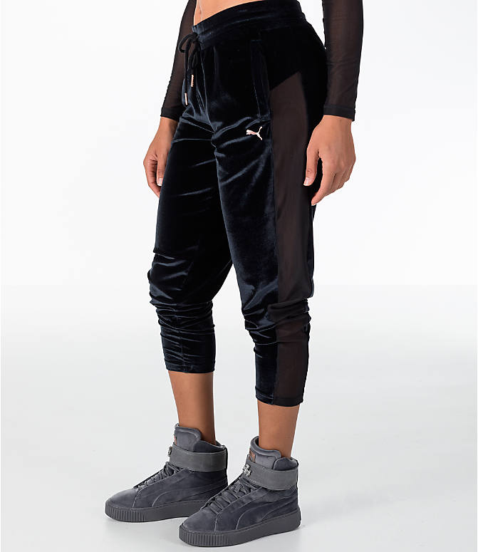 Front Three Quarter view of Women's Puma Yogini Velvet Pants in Black