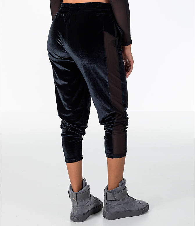 Back Right view of Women's Puma Yogini Velvet Pants in Black