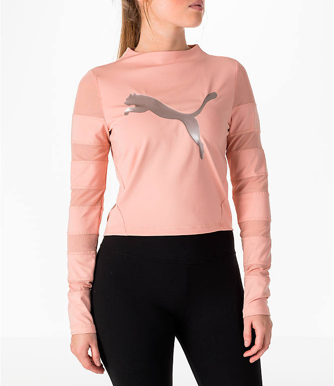 Front view of Women's Puma Mesh Insert Long-Sleeve Training Shirt in Peach/Pearl
