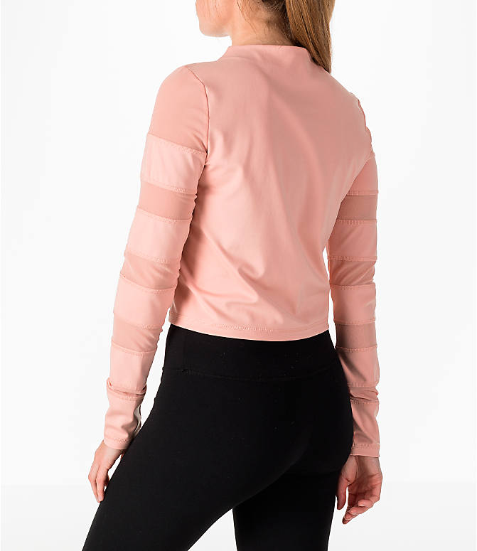 Back Left view of Women's Puma Mesh Insert Long-Sleeve Training Shirt in Peach/Pearl