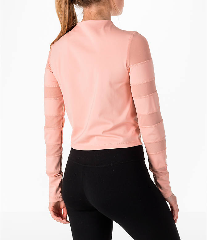 Back Right view of Women's Puma Mesh Insert Long-Sleeve Training Shirt in Peach/Pearl