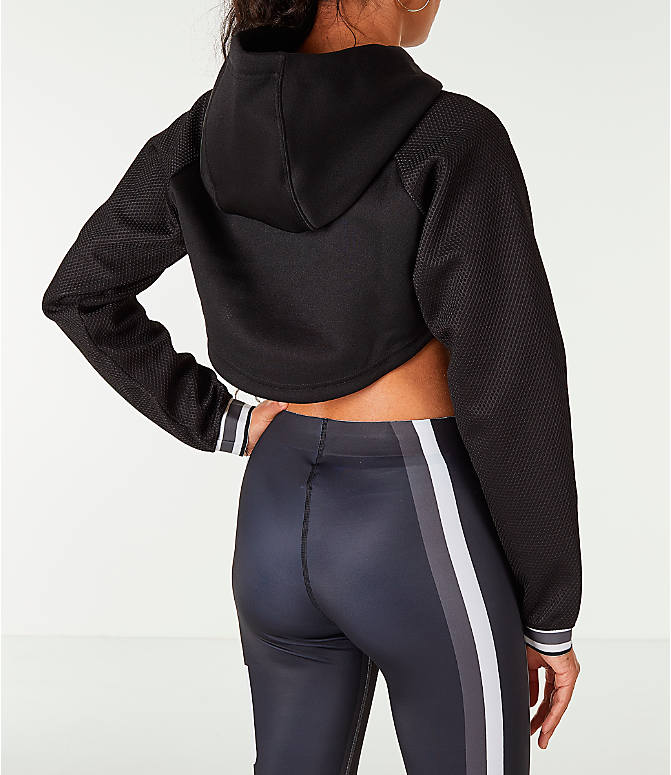 Back Right view of Women's Puma Ambition Long Sleeved Cropped Hoodie in Black/Gold