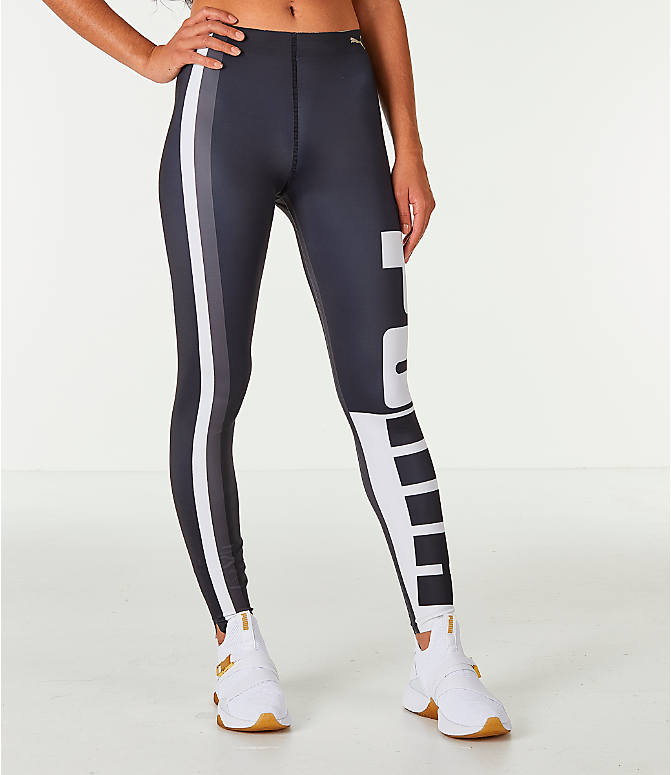 Front view of Women's Puma Varsity Tights in Black/Gold