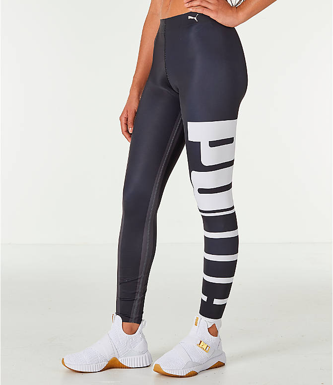 Front Three Quarter view of Women's Puma Varsity Tights in Black/Gold