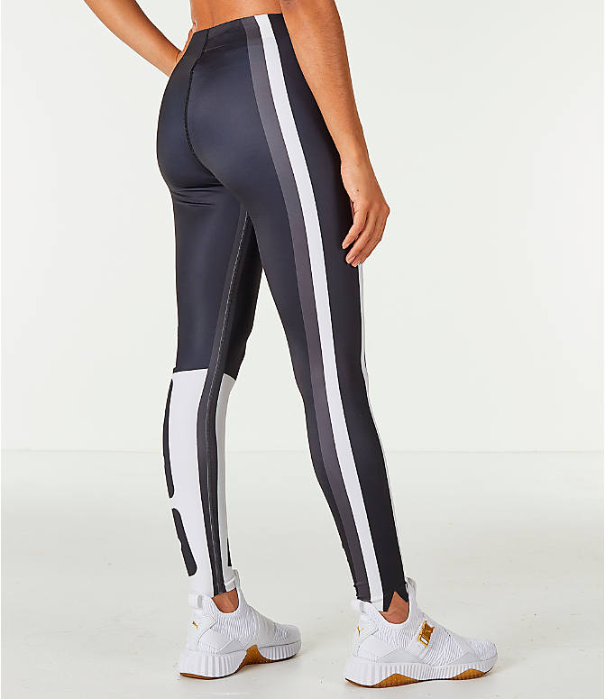 Back Right view of Women's Puma Varsity Tights in Black/Gold