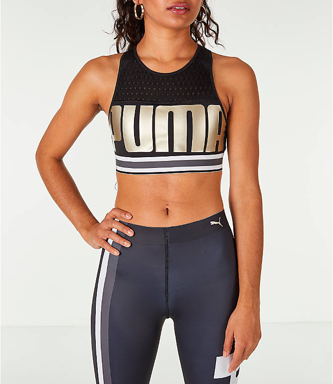Front view of Women's Puma Ambition Sports Bra in Black/Gold