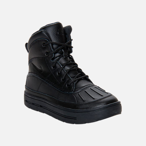 Three Quarter view of Kids' Grade School Nike ACG Woodside Boots in Black/Black