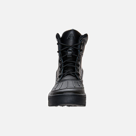 Front view of Kids' Grade School Nike ACG Woodside Boots in Black/Black