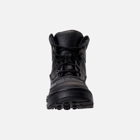 Front view of Boys' Little Kids' Nike Woodside 2 High Boots in Black/Black